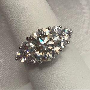 4.0 Carat VVS1 DEF White Moissanite Ring, Size 6